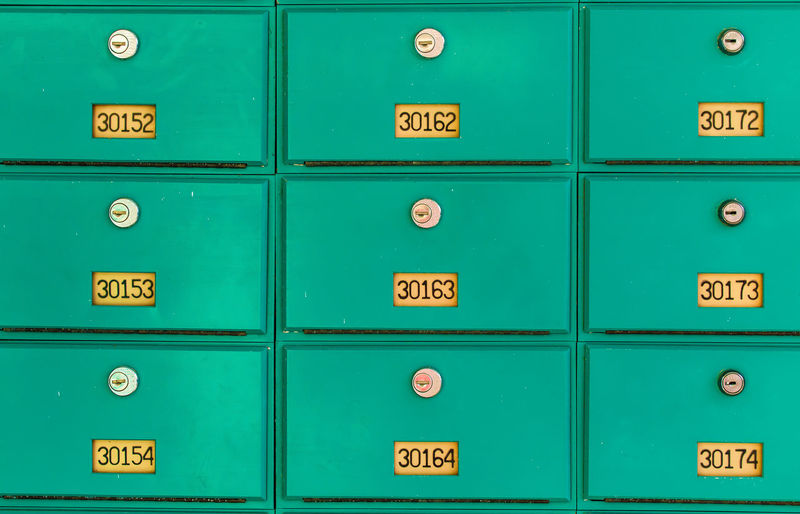 Full frame shot of mailbox