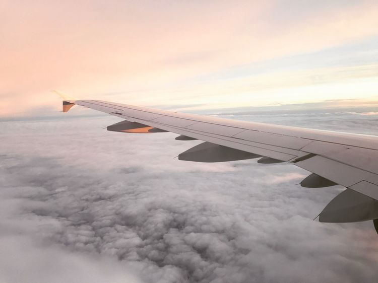 Sunset flight with Lufthansa Airbus Lufthansa Airplane Transportation Cloud - Sky Journey Sky Airplane Wing Air Vehicle Flying Travel Sunset Cloudscape Aircraft Wing No People