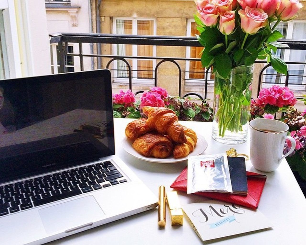 indoors, table, wireless technology, laptop, food and drink, home interior, croissant, flower, communication, technology, day, no people, food, freshness, close-up