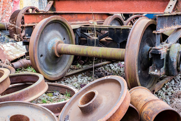 components of the train out of use Components Of The Train Out Of Use Train Metal Old Transportation Day Mode Of Transportation Abandoned No People Obsolete Land Vehicle Rail Transportation Train - Vehicle Rusty Retro Styled Wheel Close-up Railroad Track Outdoors Decline Deterioration Track Railroad Car