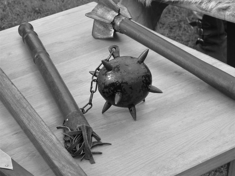 Blacksmith  Spikes Workshop Axe Battle Axe Close-up Club Dangerous Day Flail Indoors  Mace Medieval Medieval Festival Medieval Weapons Metal No People Spike Spiked Table War Weapon Weapons Weapons Of War Wood - Material EyeEmNewHere EyeEm Ready