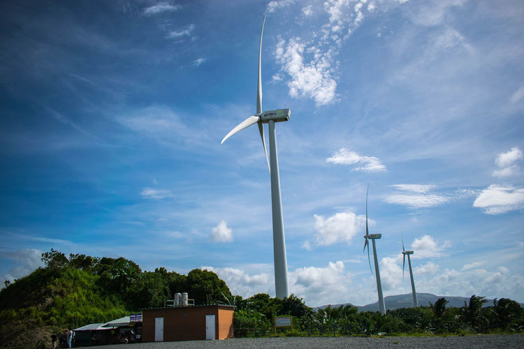 Wind Farm, Breeze Farm. Nature Philippines Pililia Rizal Wind Farm Alternative Energy Architecture Built Structure Cloud - Sky Day Environmental Conservation Fuel And Power Generation Industrial Windmill Low Angle View Nature No People Outdoors Renewable Energy Sky Technology Tree Wind Power Wind Turbine Windmill