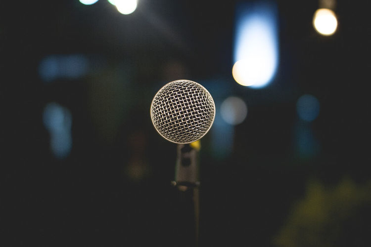 Close-up of microphone at nightclub