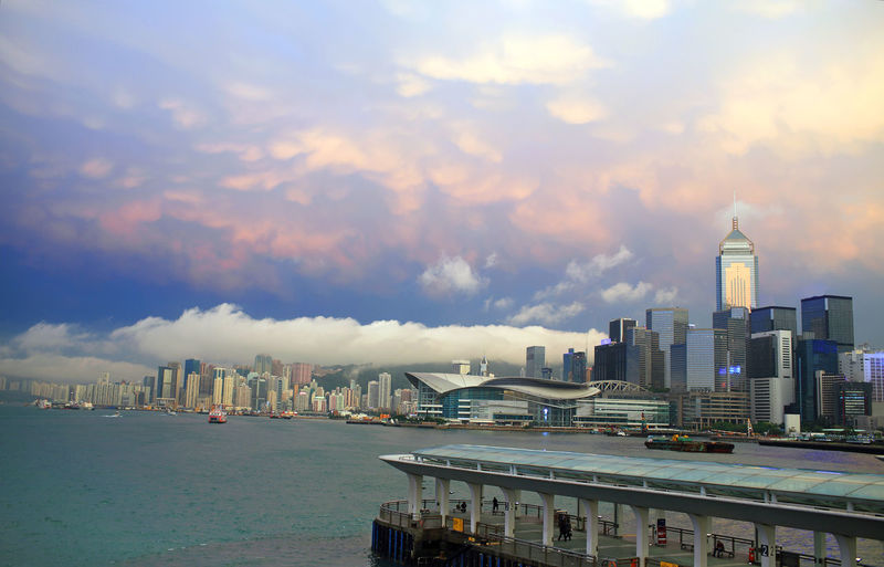 afterglow in central, hong kong Hong Kong Harbour Afterglow After The Rain Summer Dramtic Clouds Dramtic Sky Cityscape Travel Destinations Office Building Exterior Building Architecture Building Exterior Financial District  Urban Skyline Tall - High Cloud - Sky Cloudscape Skyscraper Built Structure Sky Dramatic Sky