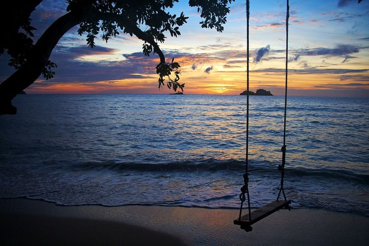 Beach Beauty In Nature Nature Outdoors Sea Shore Silhouette Sunset Swing Water
