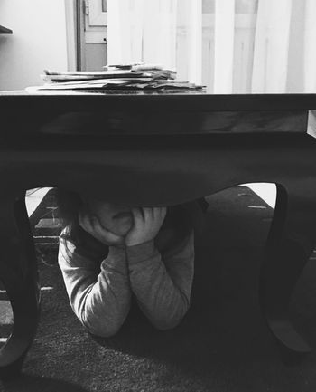 Elbowed Portrait Photography Portrait EyeEm Best Shots Below Under Hidden Table Elbow Real People One Person Childhood Lifestyles Sitting Boys Full Length Indoors  People