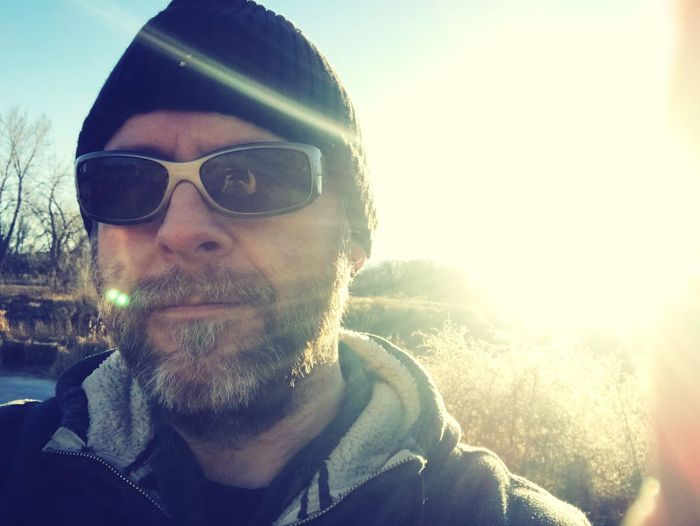 Hiking near the Arkansas river. Colorado Arkansas River Hiking Sunglasses Beard Portrait Outdoors Looking At Camera Sky Love Yourself Headshot Clear Sky Sunlight Day One Person Close-up People