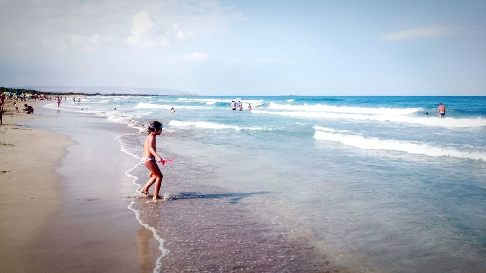 Beach Sea Vacations Horizon Over Water Shore Leisure Activity Lifestyles Full Length Panoramic Water Sky Tourist Travel Summer Sand Tranquil Scene Weekend Activities Tranquility Scenics Holiday - Event Sand & Sea Sicily Eyeemphoto Waterfront Color Palette Sommergefühle