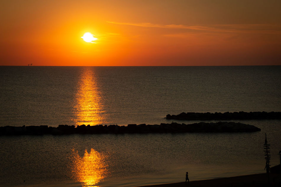 Sunrise on the Adriatic Sea in Italy Adria Sonnenaufgang Beauty In Nature Horizon Horizon Over Water Idyllic Morgenstimmung Nature No People Non-urban Scene Orange Color Reflection Romantic Sky Scenics - Nature Sea Silhouette Sky Sonne Sun Sunlight Sunset Tranquil Scene Tranquility Water
