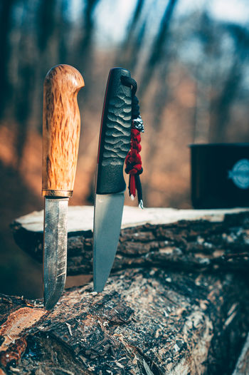 Close-up of knives on wood in forest