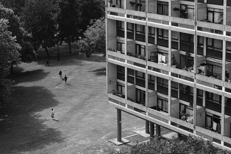 Outdoors Architecture Building Exterior People Alton Estate Housing Estate Housing Complex Modernist Architecture Concrete LONDON❤ London Postcode Postcards Black And White Black & White View From Above