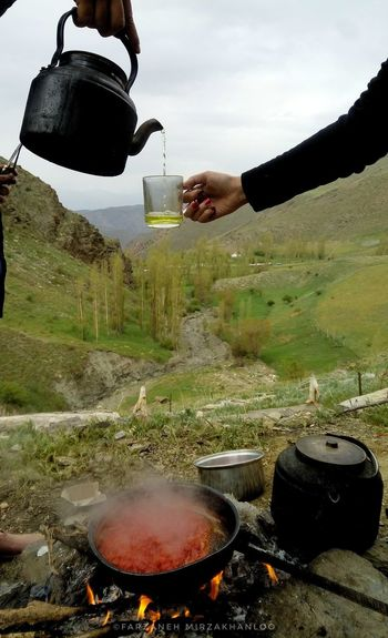 Kettle Love Tea Cup Fire Food And Drink Herbal Tea Iran Montains    Nature Omlet Real People Siahvarood Siav Zanjan