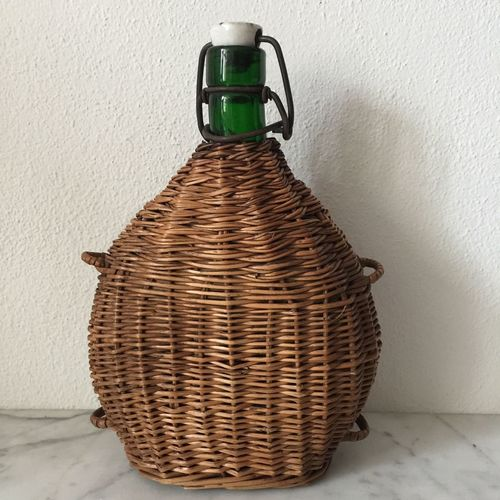 Basket Indoors  Whicker Kitchen Marble bottle Vintage Style vintage No People Still Life Table One Glass brown Old object Nobody
