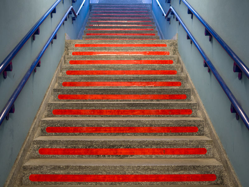 Steps to passion Blue Blue Handrail Cement Day Go Down Go Up Handrail  Handrail Metal Multi Colored No People Outdoors Outside Raw Red Red Passion Red Steps Scale  Soar Staircase Steps Steps And Staircases Subway The Way Forward Underpass Underpasssubway