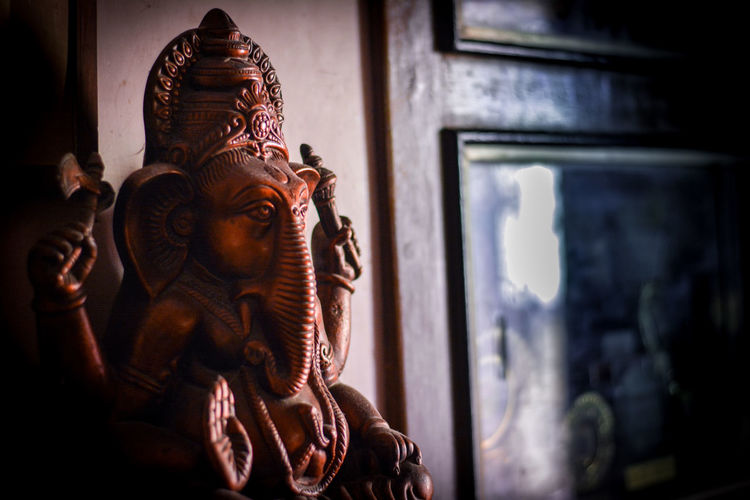 Close-Up Of Ganesha Statue In Temple