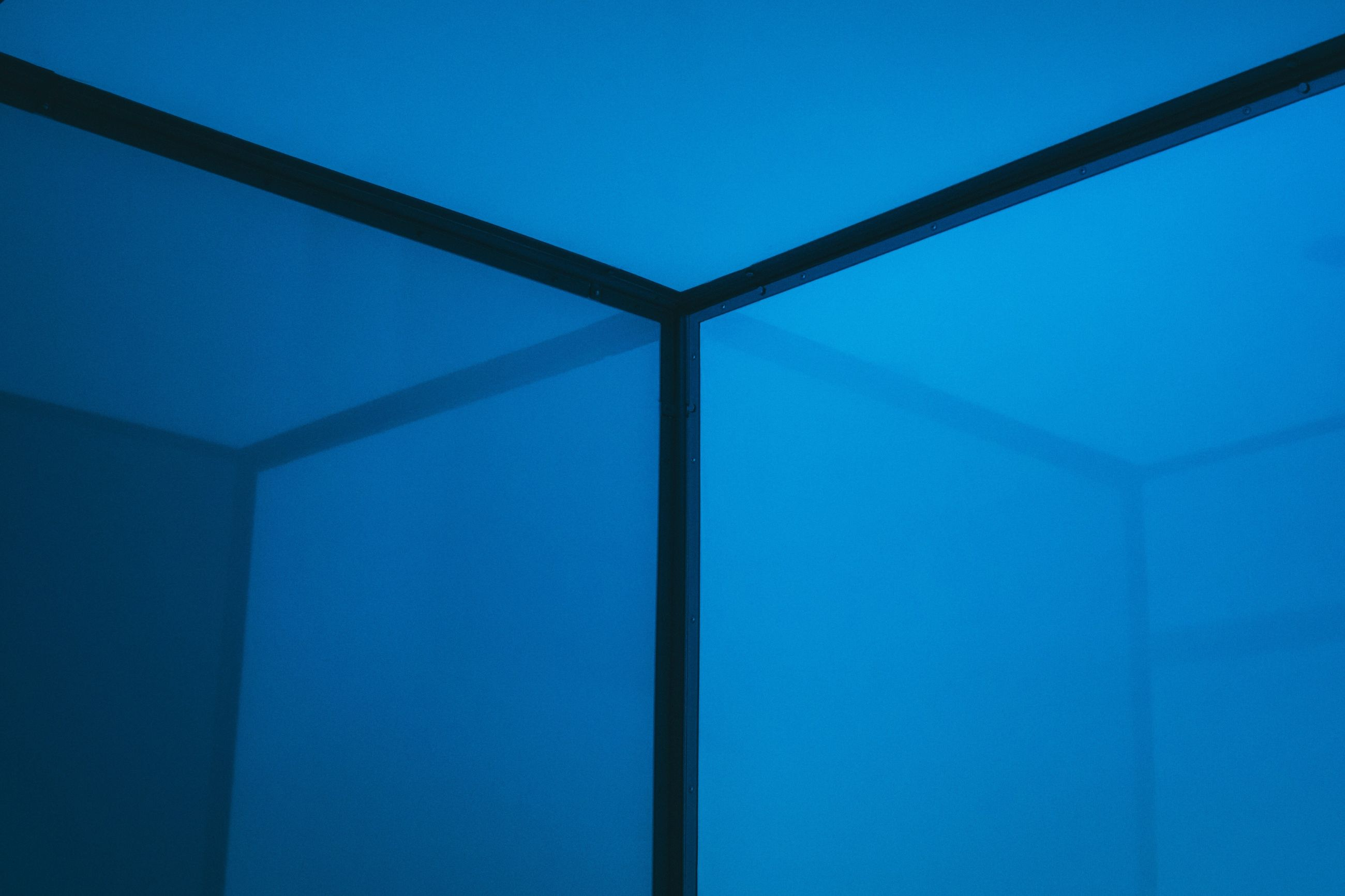 blue, low angle view, no people, full frame, architecture, clear sky, built structure, day, indoors, close-up, sky