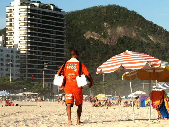 Praia do Leme, Rio de Janeiro. Vendedor de Mate Real People Outdoors Rear View Full Length Day Sky Adult Adults Only People First Eyeem Photo
