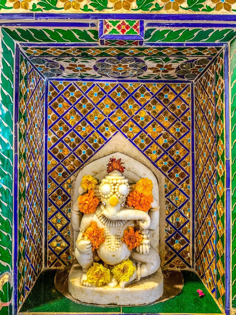 art and craft, religion, representation, belief, spirituality, no people, place of worship, indoors, creativity, architecture, human representation, built structure, sculpture, statue, multi colored, craft, pattern, altar, ornate