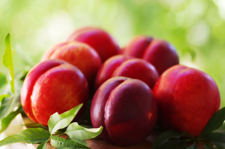 Ripe peaches with leaves on a wooden table Ripe Peaches Close-up Food Food And Drink Freshness Fruit Healthy Eating Leaf Peaches Red