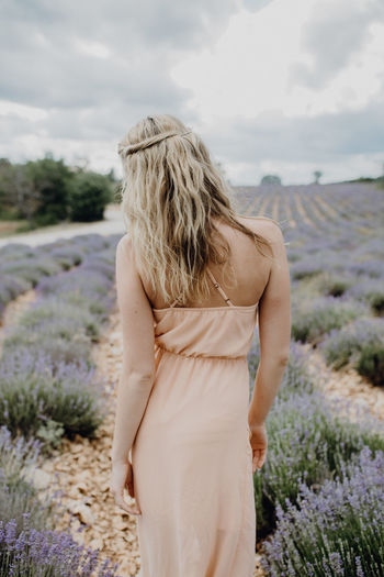 Girl standing in lavender field in Provence, France Dark Clouds Dress Exploring Field France Natural Nature Photoshoot Provence Travel Explore Flower Girl Human Lavender Model Modeling Mysterious Outdoors People Person Teenager Travel Destinations