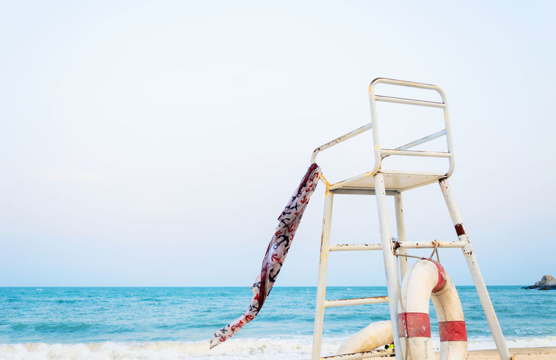 Beach Beauty In Nature Calm Clear Sky Coastline Construction Frame Day Horizon Over Water Lifeguard  Nature Ocean Outdoors Remote Sand Scenics Sea Shore Sky Summer Tourism Tranquil Scene Tranquility Vacations Water The Secret Spaces