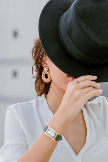 Earrings Framed Fashion Portrait Of A Woman Women Of EyeEm One Person Real People Women Lifestyles Clothing Hat Leisure Activity Headshot Young Women Front View Casual Clothing Fashion Obscured Face Focus On Foreground