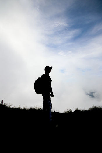 Beauty In Nature Cloud - Sky Field Full Length Land Landscape Leisure Activity Lifestyles Men Mist Nature Non-urban Scene One Person Outdoors Phucheefah Real People Scenics - Nature Sea Of Mist Silhouette Sky Standing Tranquil Scene Tranquility