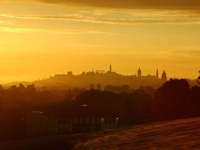 Edinburgh at sunrise Architecture Scotland Sunrise Silhouette The Great Outdoors Edinburgh Sky Sun