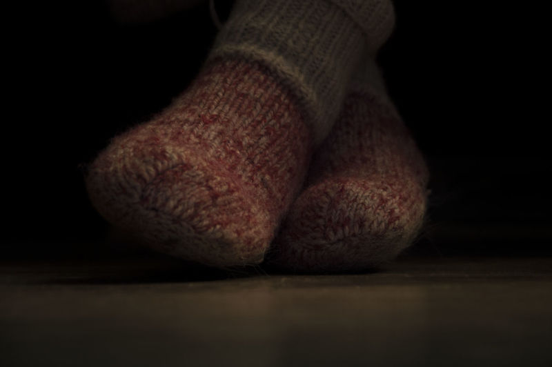 Dark Knitted Wool Red Black Hand Knitted No People Red Color Red Sock Red Socks Socks Wool Knitted