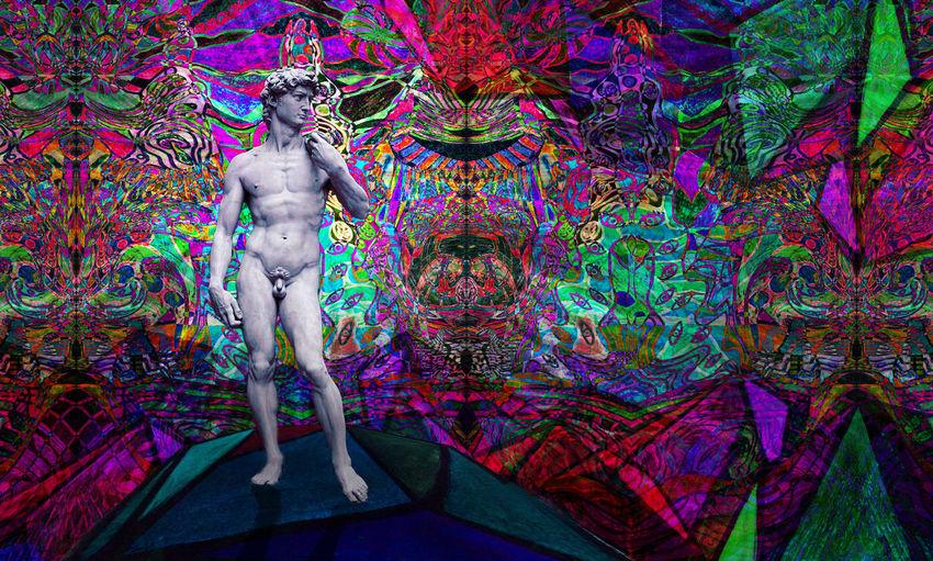 Astral Collage David Digitalart  Men Michelangelo Multi Colored Psychedelic Psychedelicart Trippy