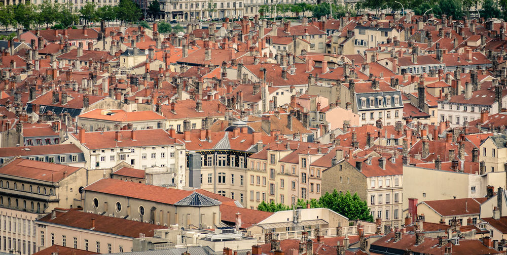 Repetitive rooftops pattern Building Exterior Built Structure Architecture City Residential District Building Roof House Community High Angle View Full Frame TOWNSCAPE Cityscape Travel Destinations Row House Rooftops Aerial View Town Old Europe Lyon France Architecture Repetitive Pattern Background