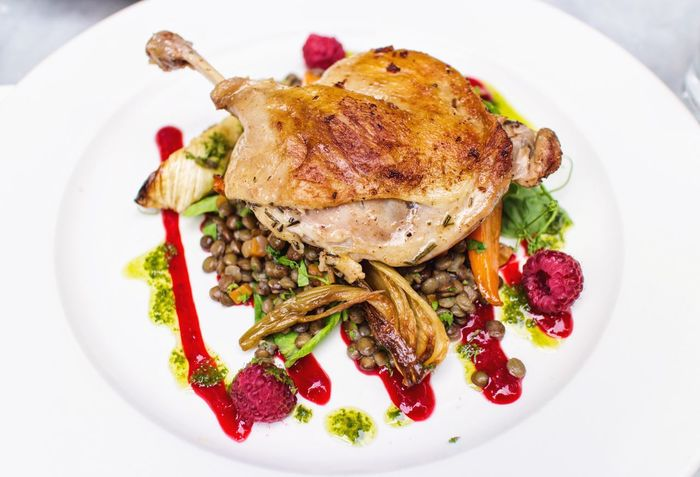 Duck Confit Duck France Blunch Food Berries Green Meal Meats Plate Roasted Ready-to-eat EyeEm Best Edits EyeEm Best Shots Food And Drink Healthy Eating No People Freshness Gourmet White Meat Main Course EyeEmBestPics White Background Close-up EyeEm Gallery Investing In Quality Of Life