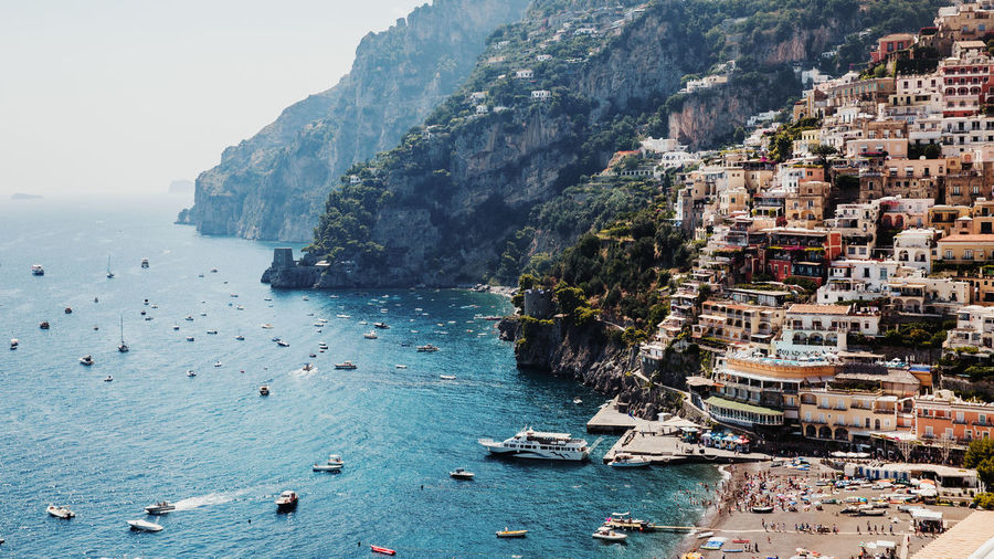 Amalfi Coast, Italy Amalfi Coast Positano Positano, Italy Italy Sea Water Land Nautical Vessel Nature Architecture City Building Exterior Beach Transportation Day Built Structure Mode Of Transportation Scenics - Nature Travel Destinations Mountain Beauty In Nature Sky High Angle View Outdoors No People Horizon Over Water Cityscape Bay