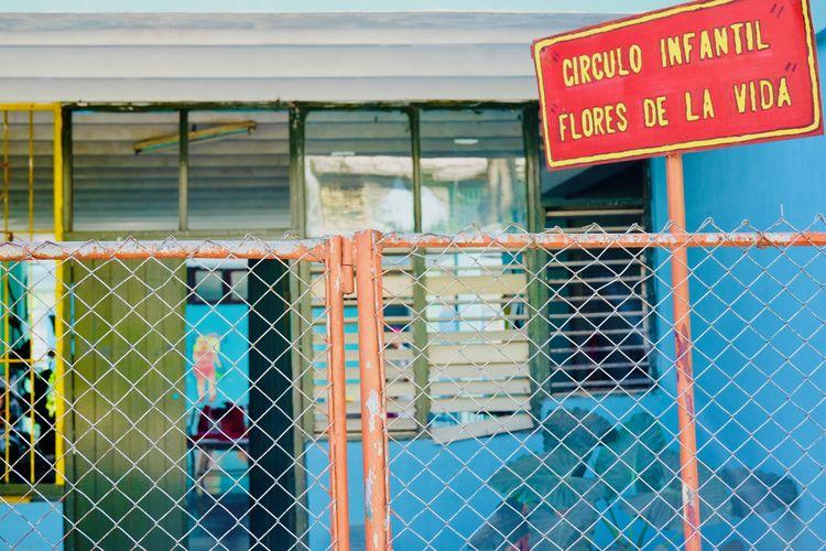 Kindergarten. Colors Cuba Cuba Collection Habana Havana Havana, Cuba Kindergarden Kindergarten Travel Barrier Childhood Colorful Cuban Cuban Life Day Fence No People Outdoors School Sign