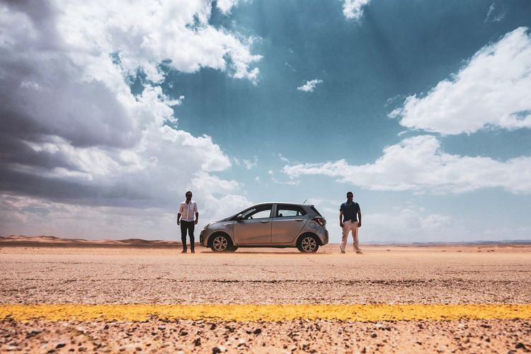 Road Trip Transportation Mode Of Transportation Cloud - Sky Sky Land Vehicle Real People Land Men Nature Two People People Landscape Road Motor Vehicle Travel Arid Climate Environment