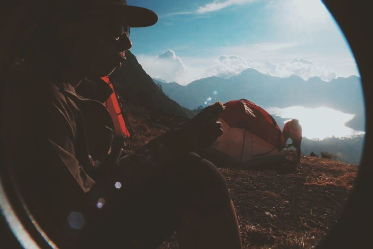 People on mountain landscape