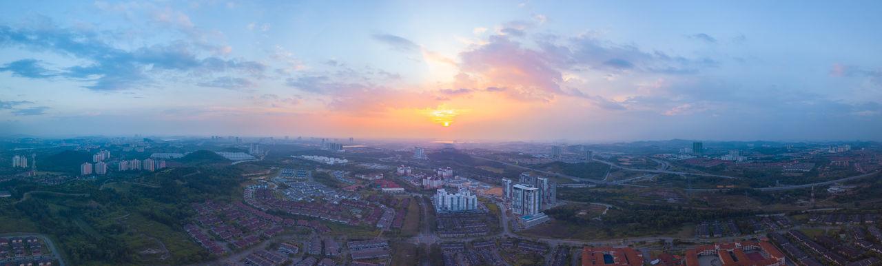 Panoramic view of Sunset at Putrajaya, Malaysia Architecture Beautiful, Cityscape Cloud Dramatic Sky Landmarks Panoramic Skyline Building City, Dramatic Evening Horizon Magic Panorama, Scene Sky, Sunset Urban Colour Your Horizn Mobility In Mega Cities