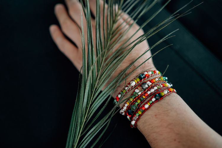 Cropped hand of person wearing bracelet by leaves against black background