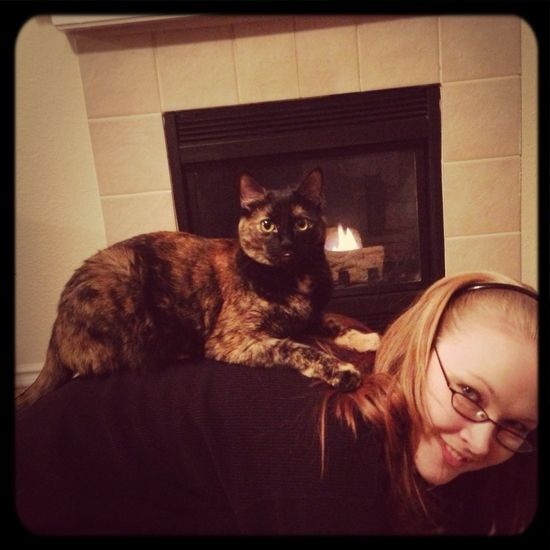 Emmy has crawled on my back and shoulders twice this evening...she's special. :3