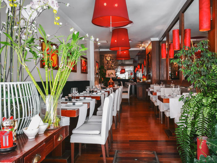 Sevilla, Spain - April 13, 2019: Traditional courtyard in a Manor Sevillian house at the famous neighborhood of Holy Cross (Barrio de Santa Cruz), Seville, Andalusia, Spain. Seville Restaurant Interior China Japanese  Modern Design Bar Table Style Japan Empty Decor Cafe Chair Sushi Dinner Food Inside Furniture Asian  Kitchen Traditional Room Wooden Red Luxury Oriental Decoration Nobody Chinese Lounge Hall ASIA Dining Elégance Culture Architecture Meal Indoor Light Indoors  Lunch