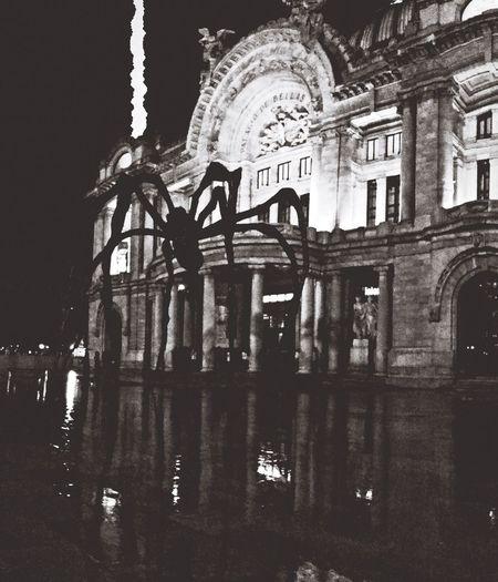 Bellas Artes con araña y rayo detrás incluído Louis Bourgeois