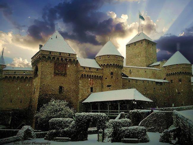 Storm Clouds over Chillon Castle Chateau Chillon Château Flags Mediavel Castle Snow Storm Clouds Turrets