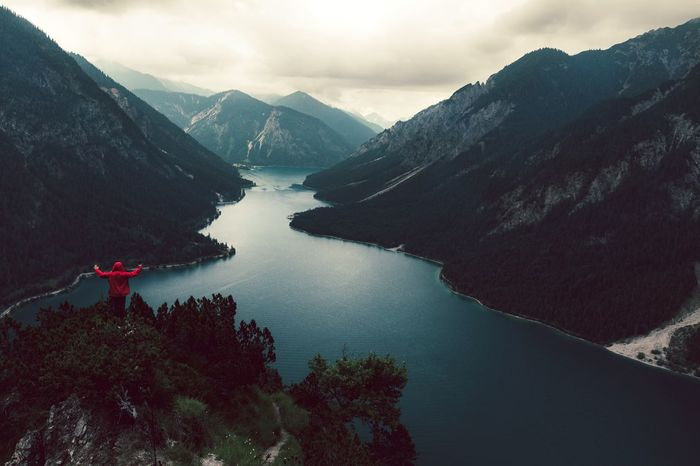 Lost In The Landscape Mountain Water Beauty In Nature Nature Mountain Range Lake Scenics Outdoors Tranquil Scene Tranquility Sky Rear View Real People One Person Landscape Perspectives On Nature