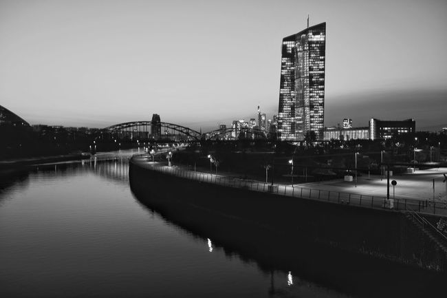 The river Main with the European Central Bank on the right. EZB EZB Frankfurt EZB Frankfurt, Germany European Central Bank Main Skyscraper Skyscrapers Skyscapes Sky_collection Cityscape Cityscapes Cityscape Photography Cityscapes_collection Skyline Skyline Frankfurt Frankfurt Am Main Frankfurt City  Frankfurt Architecture City Monochrome Monocrome Photography Monochromatic Monochrome Photography Black And White Black & White Black And White Friday