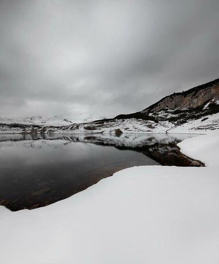 Dolomites, Italy Landscape White Snow Sennesfanesbraies Water Sea Limo