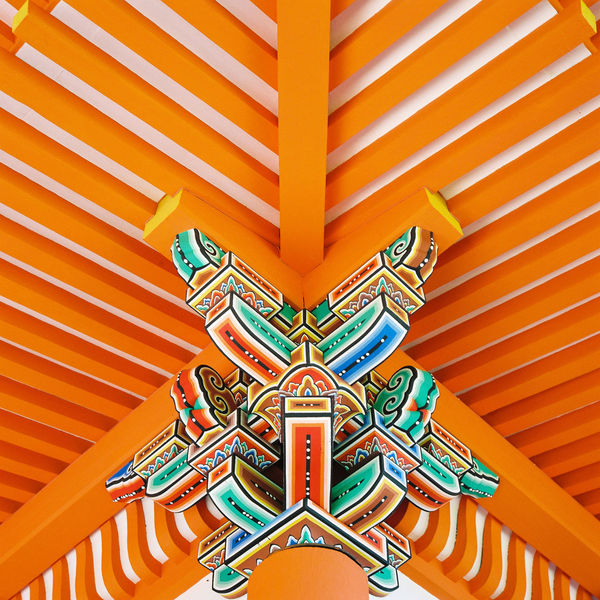 Patterns and angles emerge from the brightly coloured and newly restored ceilings and walls at Otowa-san Kiyomizu-dera in Kyōto, Japan. Ceiling Japan Japanese  Kiyomizu-dera Temple Roof Tradition Abstract Angles Architecture Balance Buddhist Temple Built Structure Close-up Day Higashiyama Kyoto Multi Colored No People Outdoors Pattern Symmetry Træ にほん 京都 清水寺