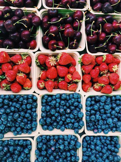 Farmers Market Fruit Fresh Produce Colorful Berries Cherries Strawberries Blueberries Delicious EyeEm Gallery EyeEm Best Shots Juicy Sweet Fruits Vivid Colour Of Life Color Palette