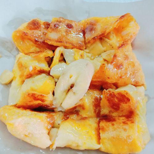 Banana Tori white Condentmilk Fried Egg Indeain Food Panckes Thailand🇹🇭 Banana Pancake Close-up Food And Drink Egg White Frying Pan Egg