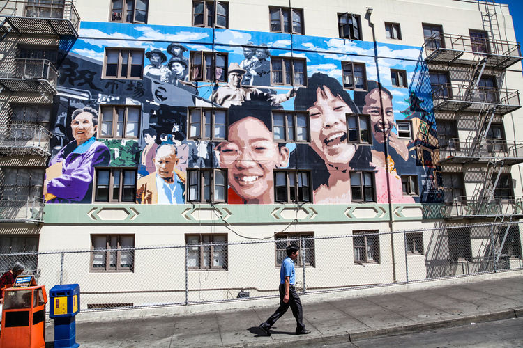 San Francisco, CA, USA: August 24, 2010: The Ping Yuen Mural on Stockton Street in Chinatown San Francisco Chinatown San Francisco Adult Architecture Art Building Exterior Day Females Group Group Of People Happiness Males  Mature Adult Mature Men Medium Group Of People Men Mid Adult Mid Adult Women Outdoors People Portrait Real People Sanfrancisco Smiling Women