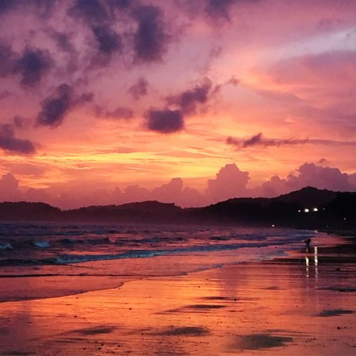 Sunset on the beach in Ban Ao Nang in Thailand. Sunset Beauty In Nature Water Scenics Beach Sea Tranquil Scene Sky Outdoors Vacations Travel Destinations